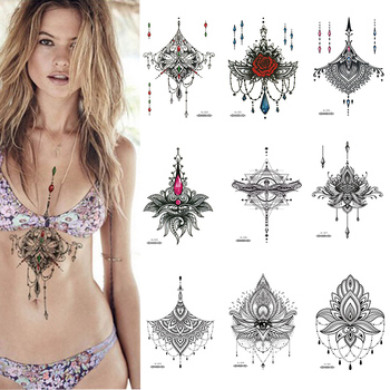 1 PIECE Under Boob Sternum Temporary Tattoo with Unalone, Spiritual Symbols,Loutus Pattern Body Art Sexy Waist Tattoo For Girl