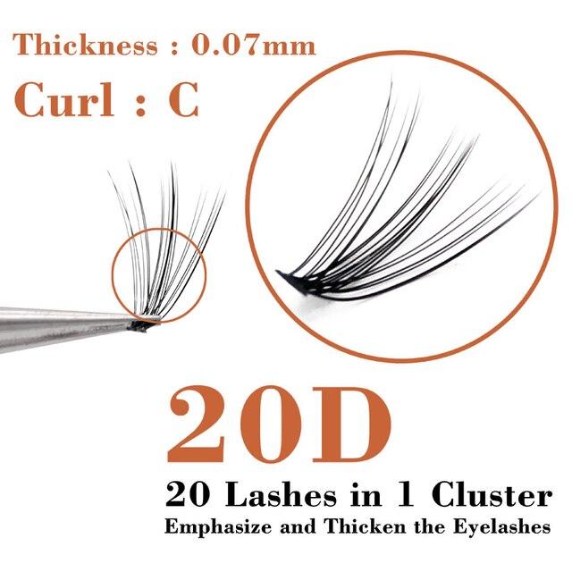 QSTY 20D Professional Makeup Individual Cluster Eye Lashes Grafting Fake False Eyelashes Natural Soft False Eyelash Extension 5
