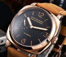 Seagull automatic movement watch 47mm luxury PVD steel case leather strap military calendar luminous hand a1