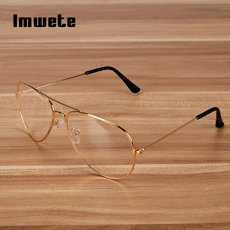 Imwete Transparent Glasses Frame Women Brand Metal Eyeglasses Men Clear Optical Prescription Eyewear Black Silver Gold Spectacle