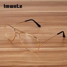 Imwete Transparent Glasses Frame Women Brand Metal Eyeglasses Men Clear Optical Prescription Eyewear Black Silver Gold Spectacle