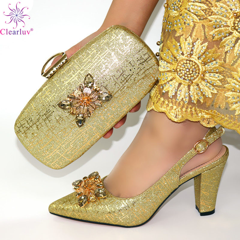 African Style Elegant Ladies Shoes And Matching Bag Set 2019 Italian Design Rhinestone High Heels Shoes And Bag Set For Party 3