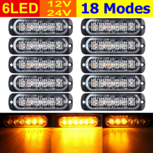 10pcs Car SUV Truck LED Lights Lamps Amber 6 LEDs 12V-24V Hazard Warning Flash Strobe Light Caution Lamp Accessories