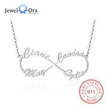 JewelOra-collar de plata de ley 925 con 4 nombres personalizados, collar con letras y colgantes, regalo de cumpleaños único