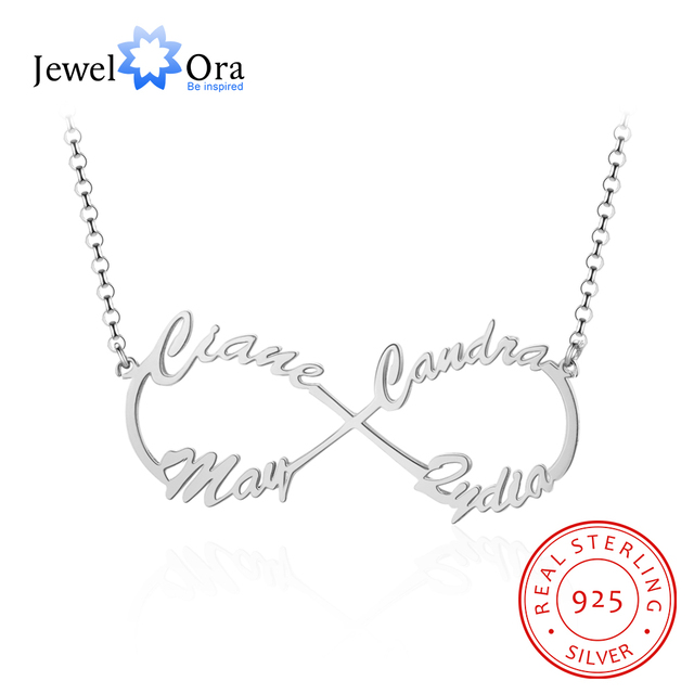 JewelOra DIY 4 Names Personalized Necklace 925 Sterling Silver Letter Necklaces & Pendants Unique Birthday Gift