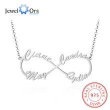 JewelOra collar de plata de ley 925 con 4 nombres personalizados, collar con letras y colgantes, regalo de cumpleaños único
