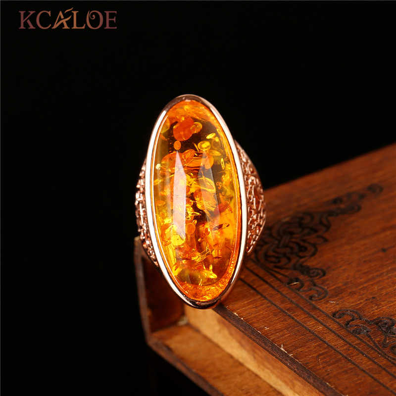 KCALOE หินธรรมชาติสีเหลืองหินแหวน Rose Gold เครื่องประดับ Bagues งานแต่งงานใหญ่ Bohemian Precious แหวน