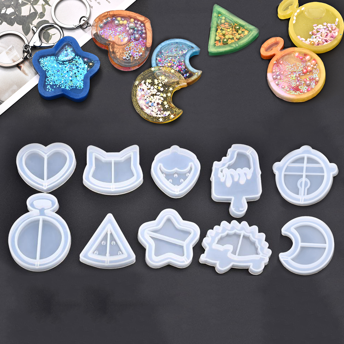 Silicone Resin Jewelry Making Molds Heart Star Moon Ice Cream UV Epoxy Resin Moulds Key Chain Pendant Craft Jewelry Tools