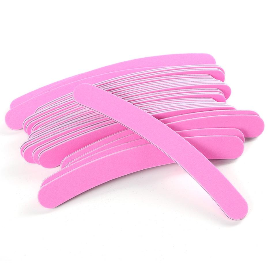 5pcs/lot Professional Nail Files Pink Half-moon Sanding Buffer Block Grinding Polishing Manicure Pedicure Care Tools TR852