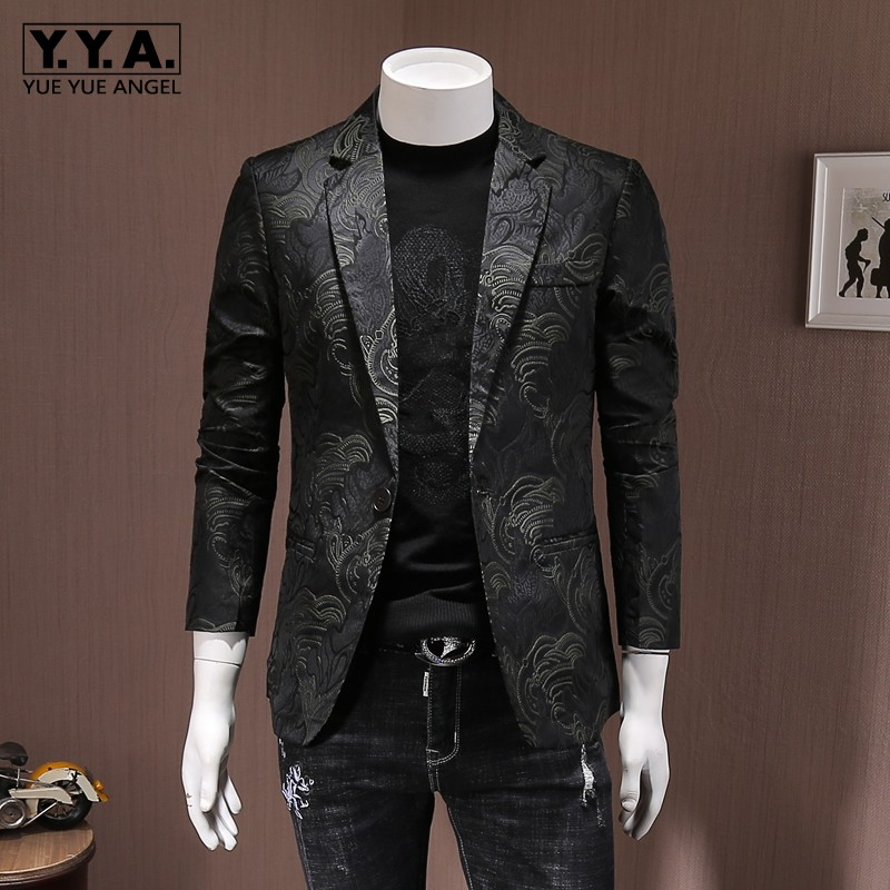 New Fashion Slim Fit Business Man Embroidery Blazer Jacket Party Suit Coat One Button Lapel Collar Office Casual Blazer Big Size
