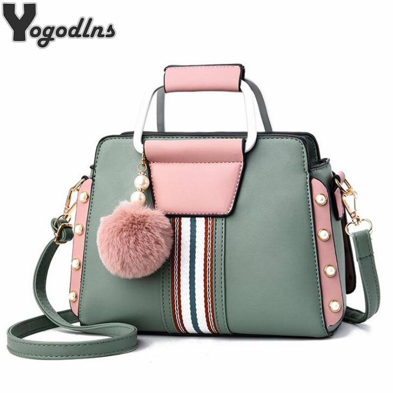 Contrast Colors Elegant Shoulder Bag Trendy Women Crossbody Bags Fur Ball Pendant Rivet Luxury Designer Ladies Top-handle Totes