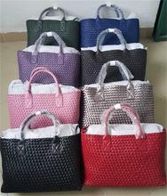 2019 brand designer high quality leather woven womens handbag large capacity handbag leather woven handbag