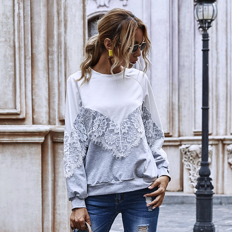 2020 New Autumn Winter Elegant Hollow Out Lace Pullover Hoodies Women Casual O Neck Patchwork Ladies Hoodies 1