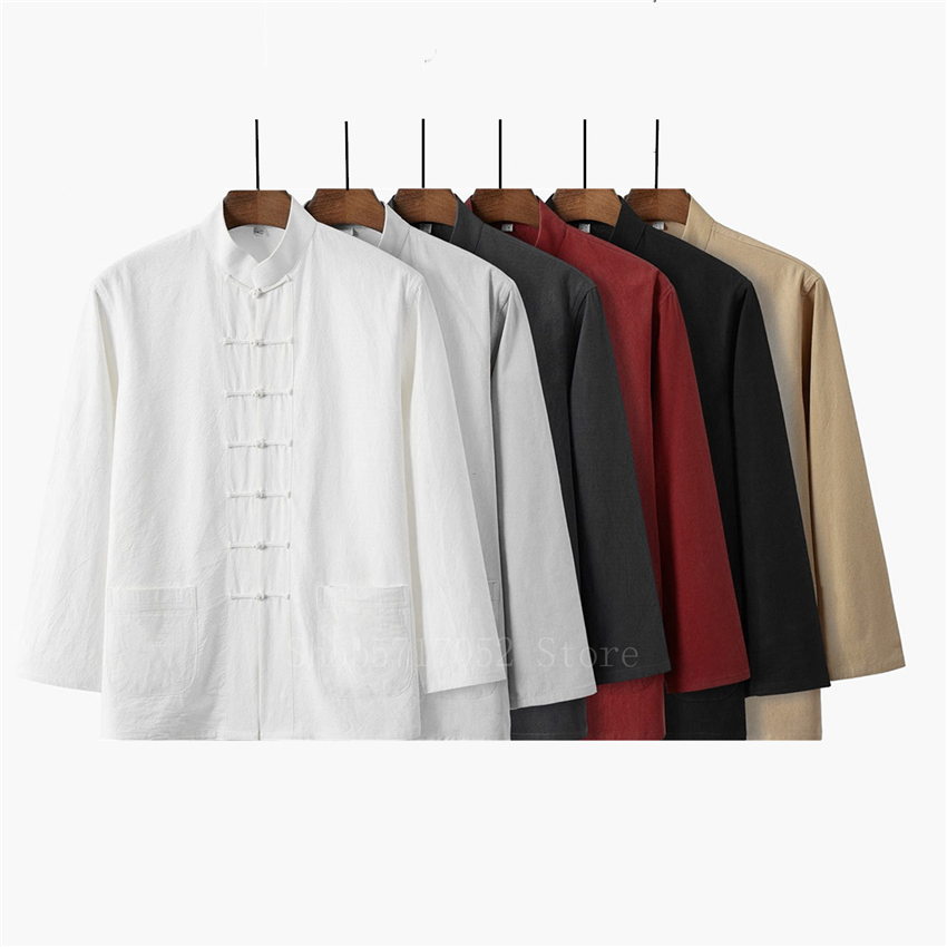 Retro Man Chinese Traditional Hanfu Shirt Solid Casual Kung Fu Uniforms Linen Cotton Tang Suit Male Long Sleeve Tai Chi Shirts