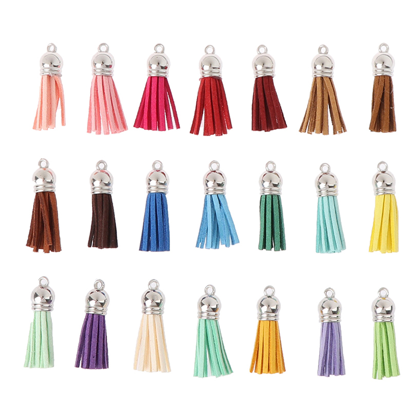 10Pcs 38mm Leather Tassel For Keychain Cellphone Straps Jewelry Suede Fringe