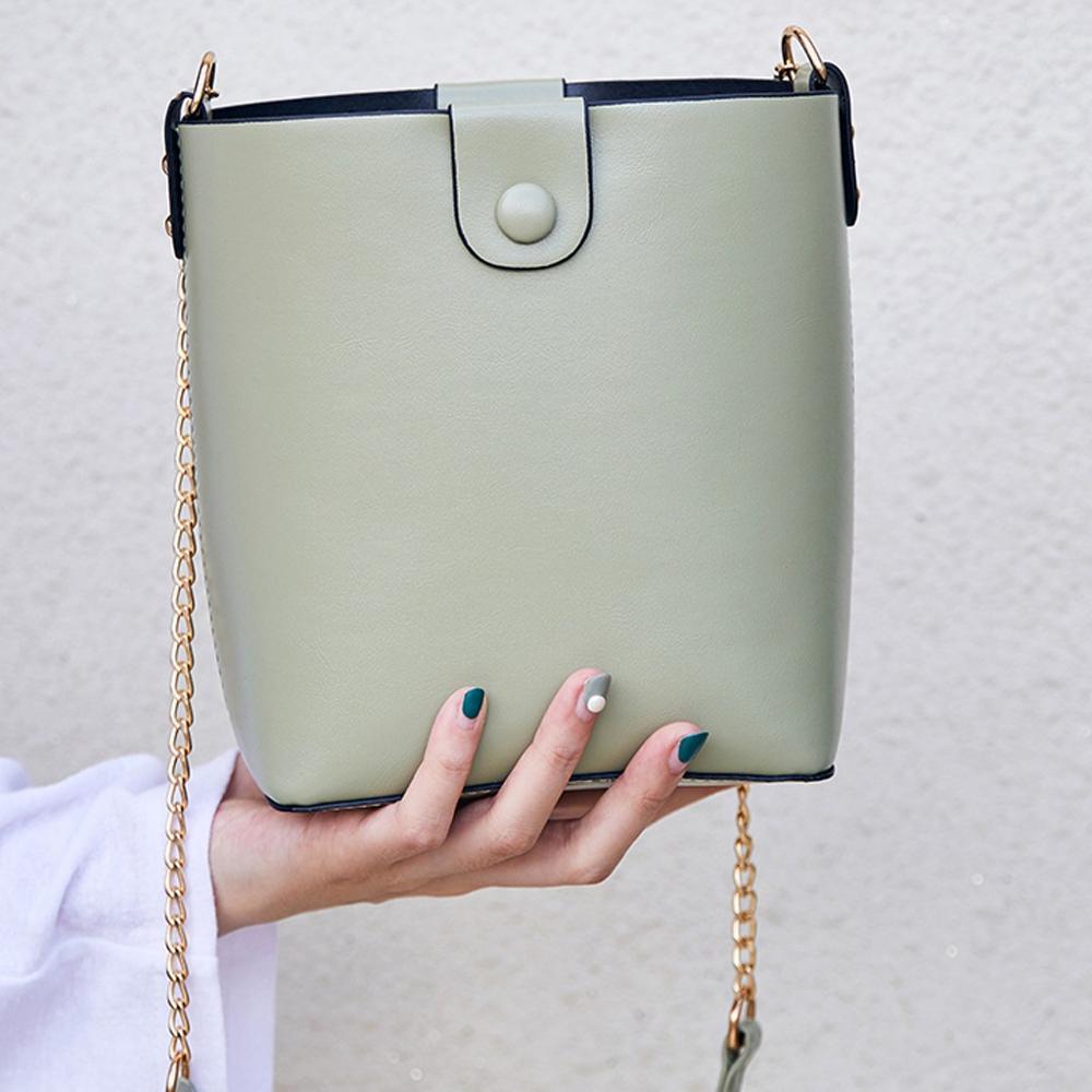 Solid Leather Bucket Bag For Women Chain Crossbody Bags New Mini Shoulders Bag Phone Handbag Ladies Messenger Bags #20
