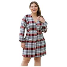 Plaid Printed Women'S Dress Vintage V-neck Button Long-Sleeved Plus Size dresses 2019 Autumn Winter Waist Short Sundress vestido(China)