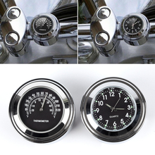 2Pcs Motorcycle Handlebar Watch Dial Clock Thermometer Silver+Black 4.5*3.2cm Aluminum Alloy Accessories