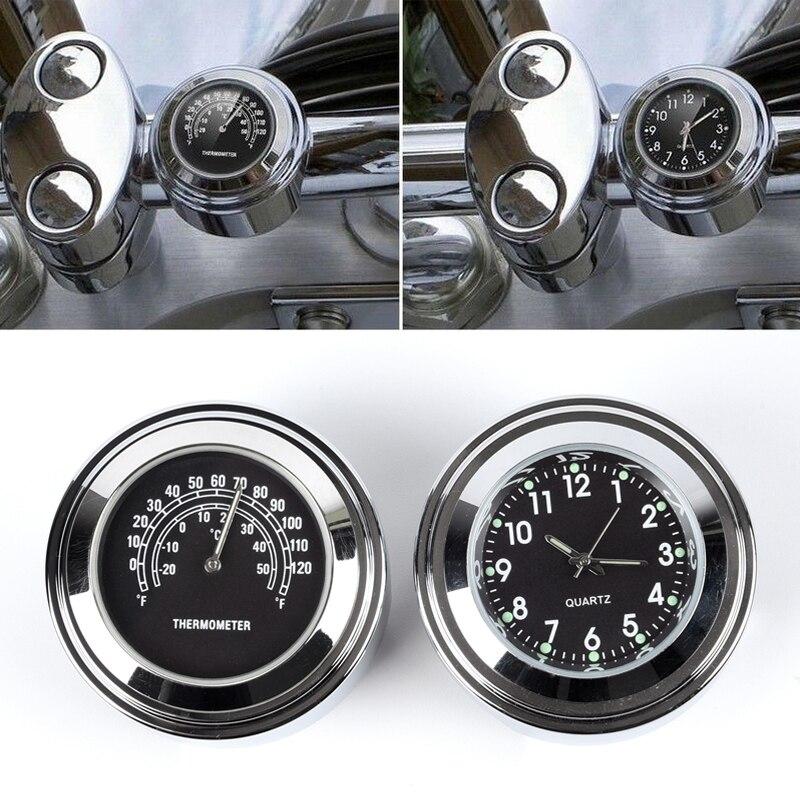WINOMO 2 St/ück 7//8-1 Motorrad Lenker Uhr Thermometer f/ür Harley Honda