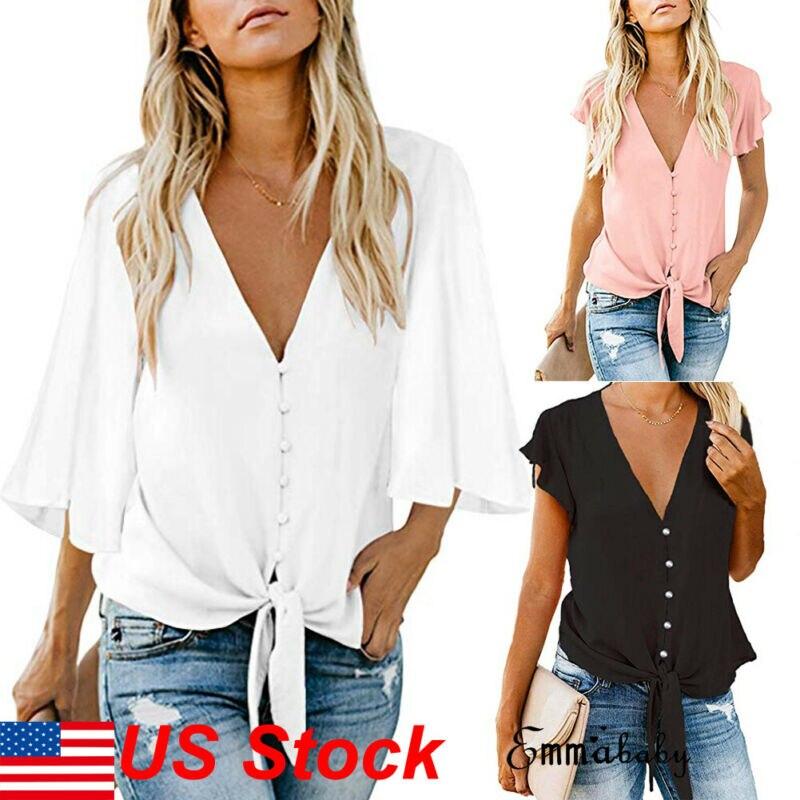 Plus Size Womens T-Shirt Deep V-Neck Ruffle Sleeve Tunic Loose Shirts Top