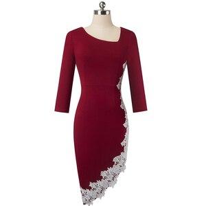 Image 4 - נחמד לנצח אלגנטי לבן תחרה טלאי משרד סימטרי vestidos המפלגה עסקי חורף Bodycon נשים שמלת B561