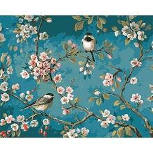 Ruopoty птицы и цветок diy Набор для рисования по номерам рисунок