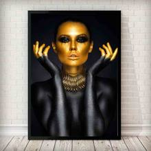 Black Gold Fashion Model Art Woman Oil Painting on Canvas Cuadros Posters and Prints Scandinavian Wall Pictures for Living Room(China)