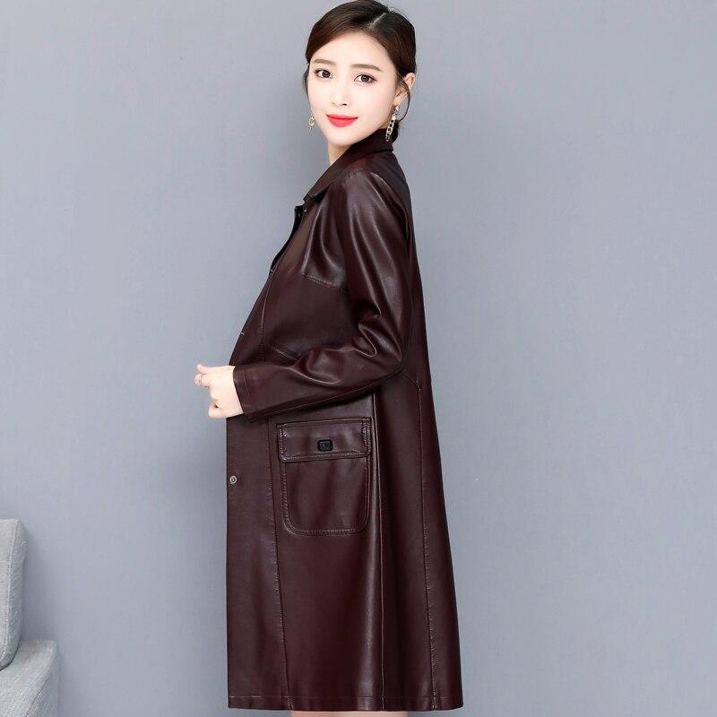 2019 jesień zima Faux skórzane kurtki kobiety Plus rozmiar 5XL moda długa kurtka damska Trench płaszcz skręcić kołnierz panie odzieży wierzchniej w Skóra i zamsz od Odzież damska na  Grupa 2