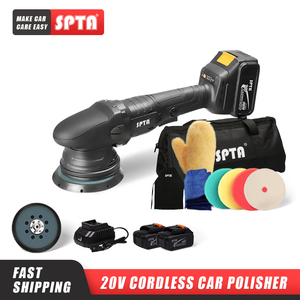 SPTA 20V Cordless Car Polisher 15mm Orbit 3000-5000rpm Variable Speed Polishing Machine With 2 4000Ahm Battery For Car Plishing