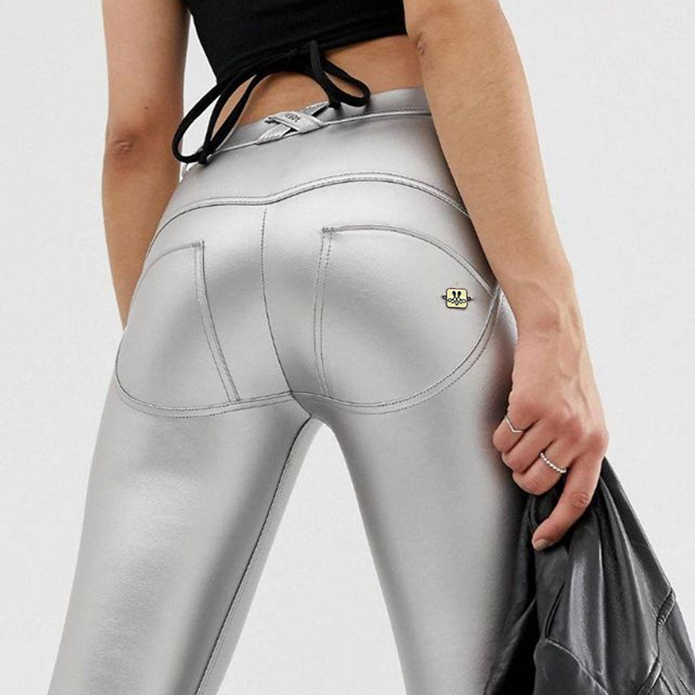 Melody metallic pants push up leggings women's sweatpants and joggers full length middle waist button fly fitness legging Outfit