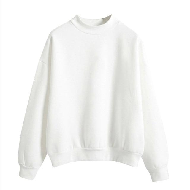 Velvet Women Sweatshirt Autumn Harajuku Style Lovely Solid Color Fleece Winter Hoodies Turtleneck Pastel Colors Jumper Tracksuit 6