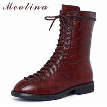 Meotina Winter Sheepskin Ankle Boots Women Natural Genuine Leather Thick Heel Short Boots Zipper Round Toe Shoes Lady Fall 35-40(China)