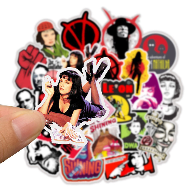 50pcs Stickers Classic Movie Pulp Fiction/Edward Scissorhands/Graffiti Sticker for Skateboard Laptop Bicycle Waterproof Decals
