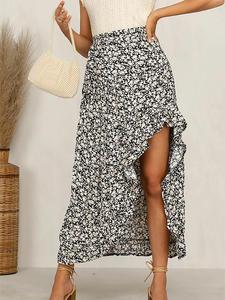 Midi Skirt Asymmetric Floral-Print Ruffles Beavant Bohemian High-Waist Beach Casual Ladies