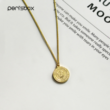 the pearl neclace Peri'sbox Vintage Argentina 1 Peso Coin Necklace Sun of May Round Face Pendant Necklaces 18mm Gold Sunrise Women Disc Neclace
