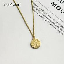 Винтажное серебристое ожерелье Peri'sbox с монетами из 1 Песа, подвеска с круглым лицом от солнца мая, Золотистое Ожерелье 18 мм с подвеской в виде...