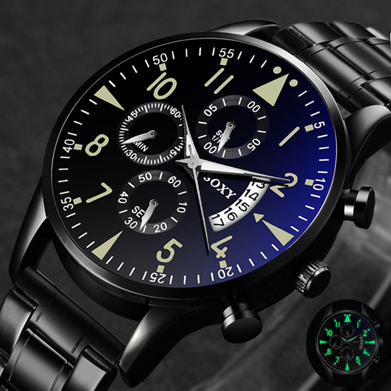 Classic Steel Watch Relogio Masculino Quartz Wristwatch Luminous SOXY Men's Watches Classic Calendar Mens Business Saati Hours