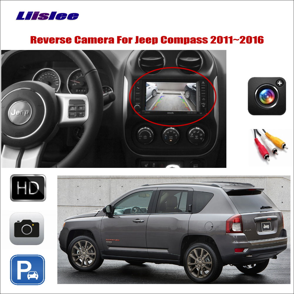 Car Reverse Rear View Camera For Jeep Compass 2011- 2013 2014 2015 2016 Compatible With Original Screen RCA Adapter Connector image