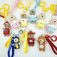 2019 New Cute Tassel Faux Leather Bear Keychain lovely Key Chain Women Backpack Ornament Gift