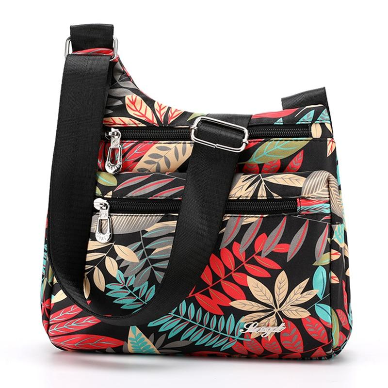 Fashion Cartoon Print Women Bag Multi-Pocket Women Shoulder Bag Durable Waterproof Nylon Messenger Bag Female Fabric Handbag