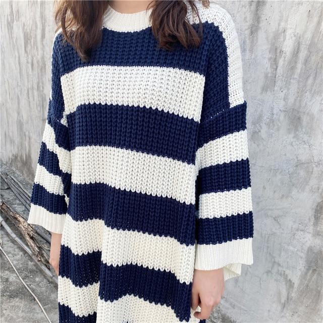 New Loose Stripe Crew Neck Pullover Sweater Women Long Knit Dress5