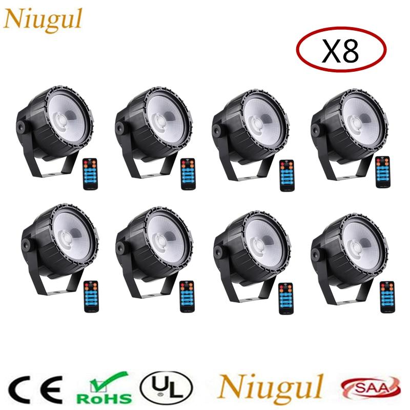 8pcs/lot 30W RGB UV COB LED Stage Light Par Light Wireless Remote DMX512 Control COB Par Stage Lighting Lamp For DJ Party Club
