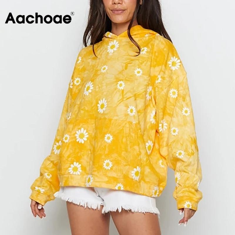 Aachoae Batwing Sleeve Loose Casual Print Hoodies Women Pocket Home Style Sweatshirts Female Fashion Oversized Hooded Hoodies 1