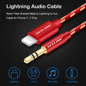 Image 2 - VOXLINK Aux Car Cable For iPhone X XS XR 8 7 plus 1M/3FT 8 Pin to 3.5mm Male Jack Audio Cable For iPhone 7 6 Speaker Headphone