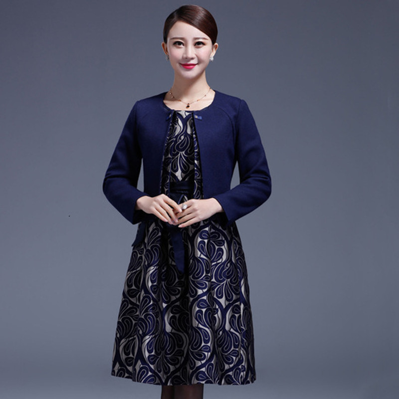 Long Sleeve Blazer Jackets O-Neck Midi Dress Formal Work Dress Suits Women Office Wear 2 Piece Female Sets vestidos Plus Size
