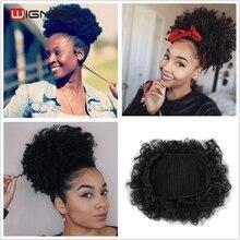 Wignee высокотемпературные синтетические волокна кудрявые шиньон булочка шиньон эластичные поддельные классические средства наращивания волос для черных/белых женщин