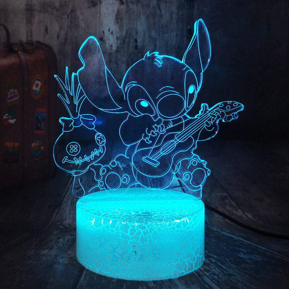 3D LED Crackle White Base Night Light Happy Stitch Playing The Guitar With Friends Scrump Sleep Table Lamp Home Decor Christmas