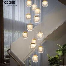 Modern Crystal Stair Chandeliers for Loft Kitchen Island Corridor Indoor Gold Pendant Lighting LED Hanging Lamp Home Decoration