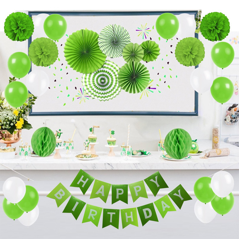 Birthday Baby Shower Wedding Party Decoration Banner Balloons Tissue Paper Pom-Poms Fans Flowers Decor Pink Green Blue Black