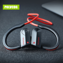 POLVCDG Black Sports Bluetooth Earphones Wireless Sweatproof Headset Music Stereo Earbuds with Microphone
